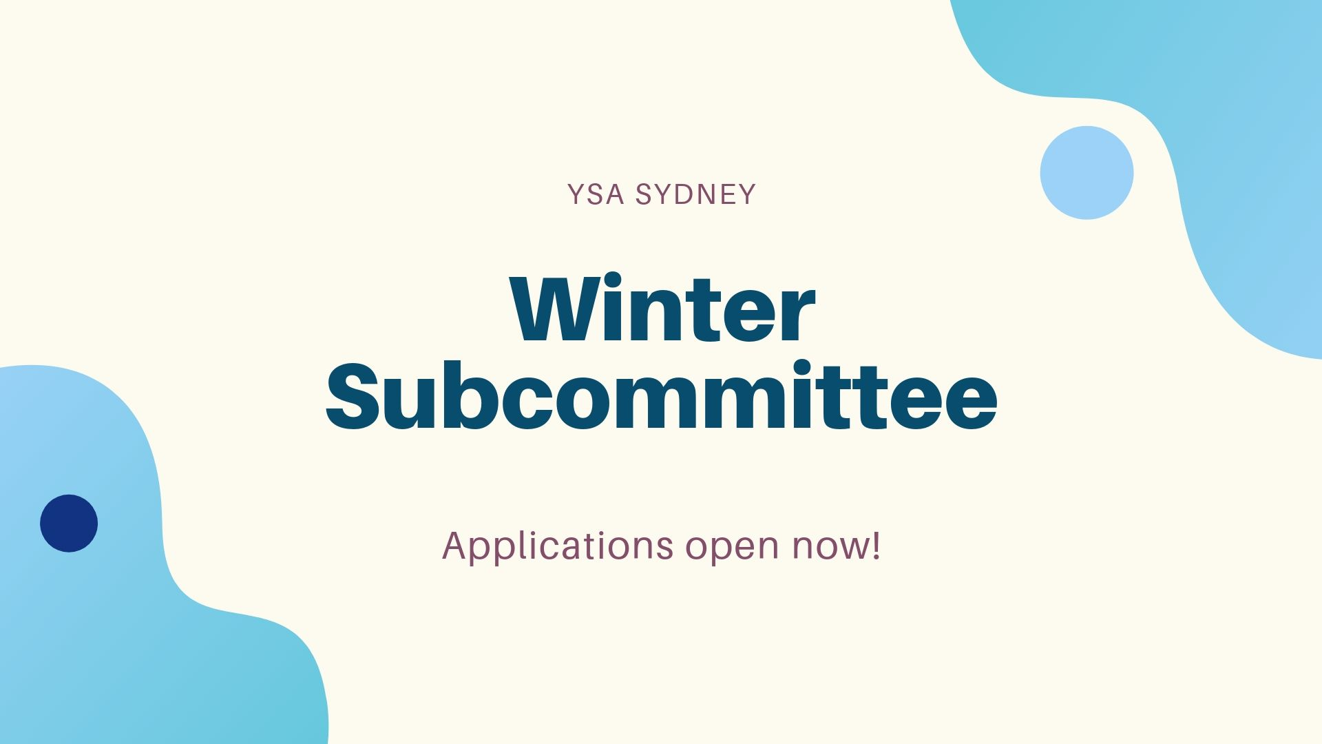 Winter Subcommittee Applications 2019